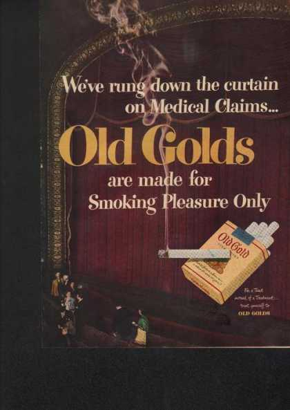 Old Gold Cigarette Down the Curtain Print (1949)