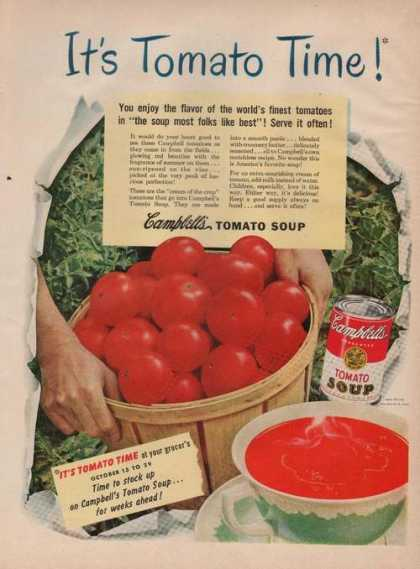 """It's Tomato Time"" Campbells Soup Printad (1949)"