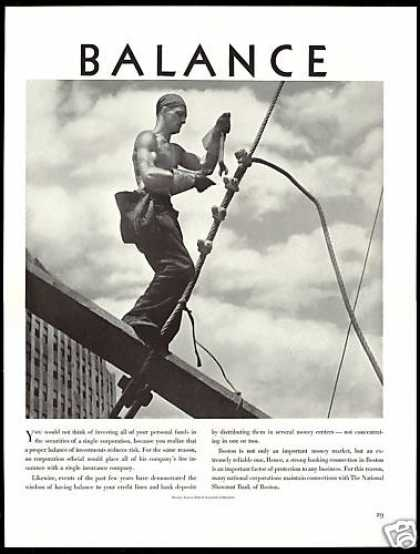 Steel Cable Worker Balance Shawmut Bank Boston (1938)