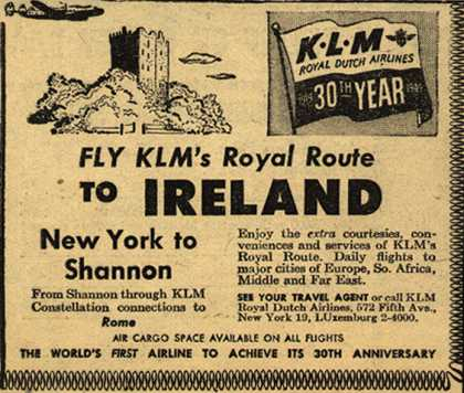 KLM Royal Dutch Airline's Ireland – Fly KLM's Royal Route To Ireland (1949)