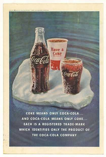 Coke Means Coca-Cola Bottle Paper Cup Glass (1961)
