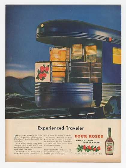 Four Roses Whiskey Glass in Caboose Train (1947)