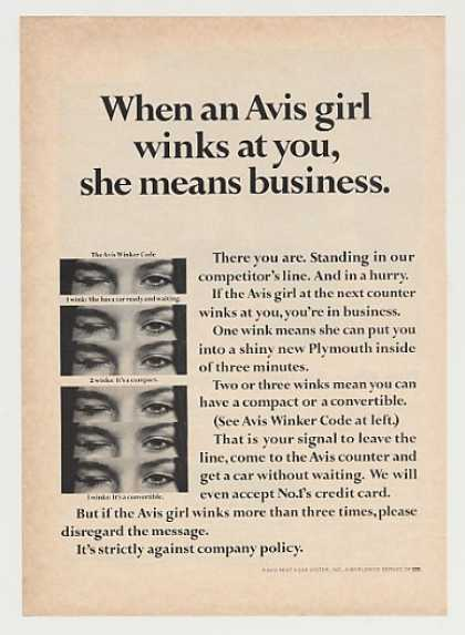 Avis Rent A Car Girl Winks at You Winker Code (1967)