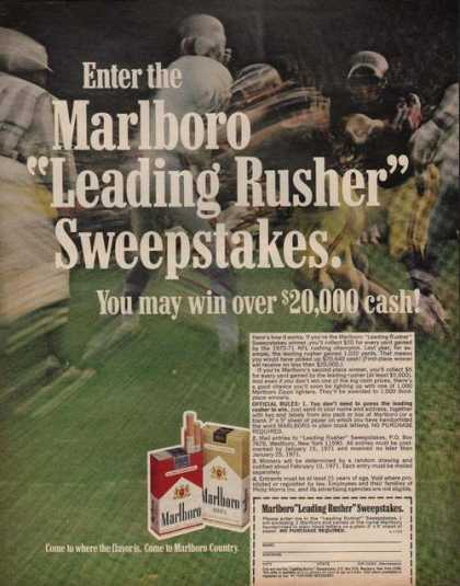 Marlbor Rusher Sweepstake Cigarette (1970)