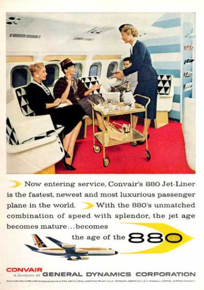 Convair 880 Jet Liner Plane Ad First Class Steward (1960)