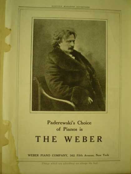 Weber Piano co Paderewski's choice of pianos (1908)