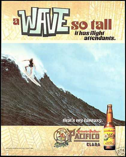 Pacifico Clara Beer Surfer Surfboard Wave Photo (1999)