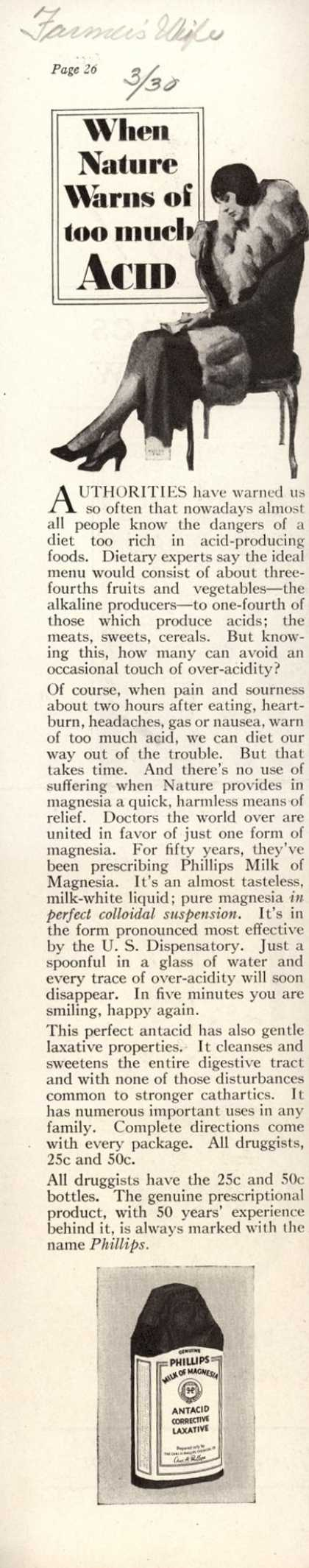 Chas. H. Phillips Chemical Co.'s Milk of Magnesia – When Nature Warns of too much Acid (1930)