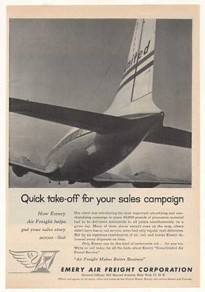 Emery Air Freight United Airplane Photo (1955)