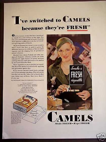 Flapper Girl In Hat Photo Camel Cigarette (1932)