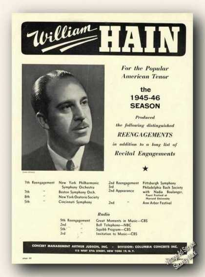 William Hain Photo Tenor Antique Rare (1946)