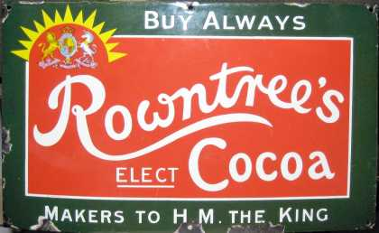 Rowntrees Elect Cocoa Enamel Sign