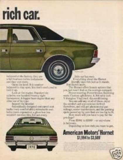 American Motors Hornet Sst Car Ad 2 Page (1970)