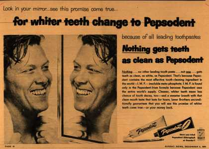 Lever Brothers Company's Pepsodent Tooth Paste – For whiter teeth change to Pepsodent (1954)