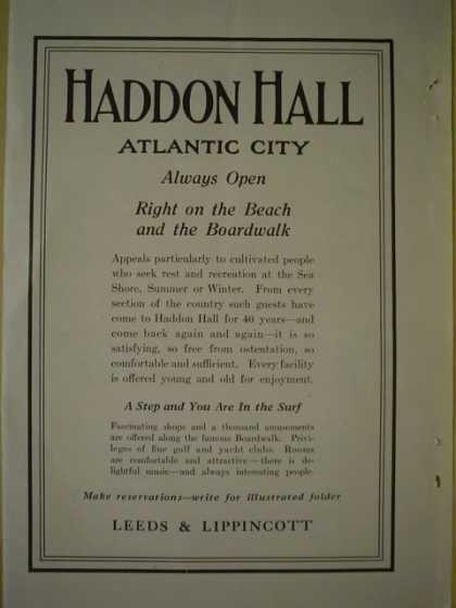 Haddon Hall Atlantic City Beach and Boardwalk Leeds and Lippincot (1920)