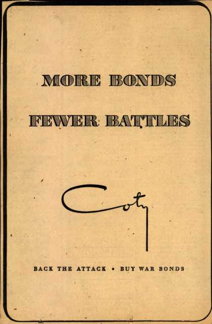 Coty's War Bonds – More Bonds Fewer Battles (1943)