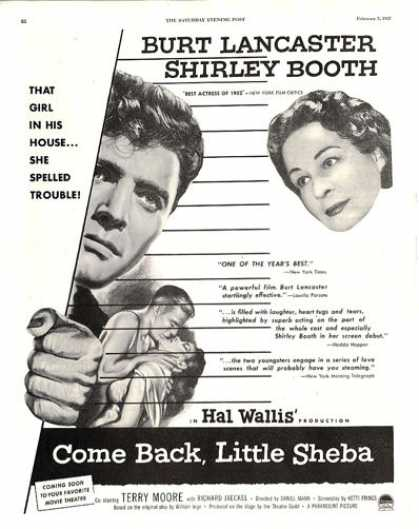 Movie Ad Come Back Little Sheba Lancaster Booth (1953)