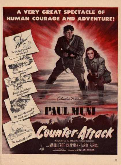 Counter Attack Movie Ad Columbia Pictures Paulmuni (1945)