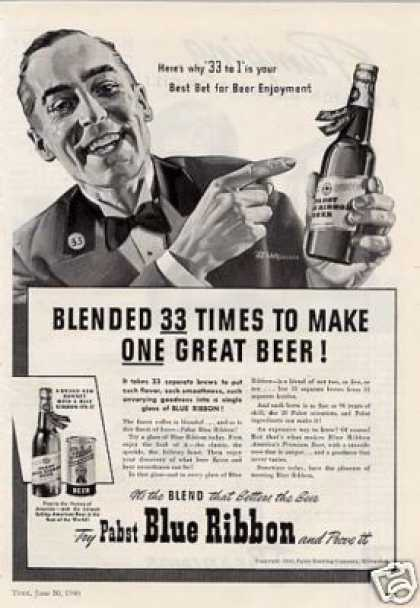 Pabst Blue Ribbon Beer (1940)