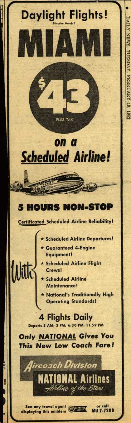 National Airline's Miami – Daylight Flights! Miami on a Scheduled Airline (1952)