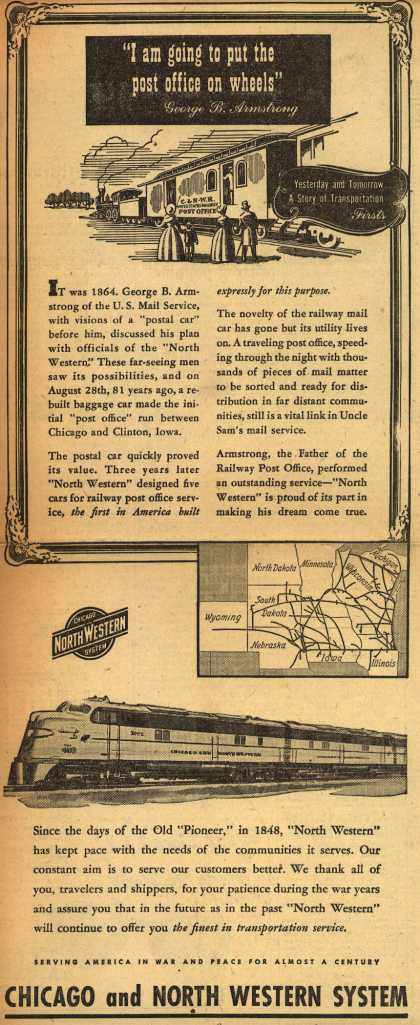 "Chicago and North Western System – ""I am going to put the post office on wheels"" (1945)"
