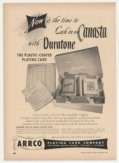 ARRCO Duratone Canasta Playing Card (1949)