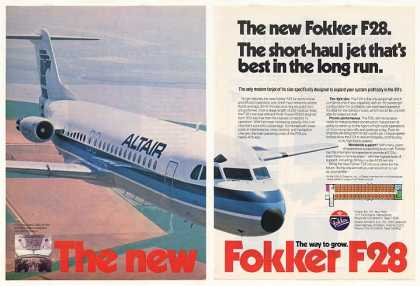 Altair Airlines Fokker F28 Jet Aircraft 2-Page (1981)