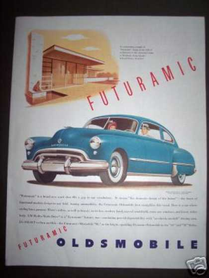 Original Oldsmobile Blue Car Ad Gm Hydra-matic (1948)