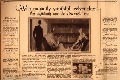 "Pond's Extract Co.'s Pond's Cold Cream and Vanishing Cream – With radiantly youthful, velvet skins they confidently meet the ""First Night"" test. (1924)"