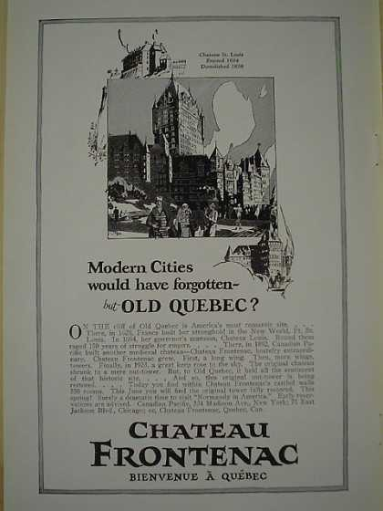 Chateau Frontenac Quebec Canada Old Quebec (1926)