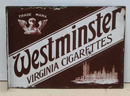Westminster Cigarettes 2 sided sign