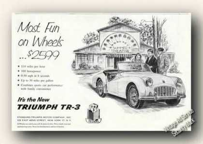 Triumph Tr-3 Drawing Most Fun On Wheels Rare (1957)