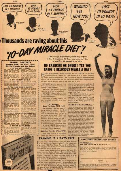 "Wilfred Funk's 10-day Miracle Diet – Thousands are raving about this ""10-Day Miracle Diet"" (1948)"