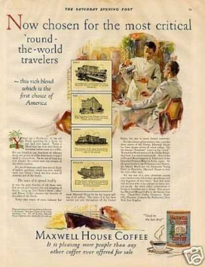 "Maxwell House Coffee Ad ""Now Chosen For... (1927)"