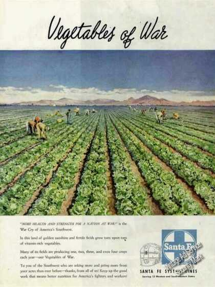"Wwii ""Vegetables of War"" Art Santa Fe Rr (1945)"