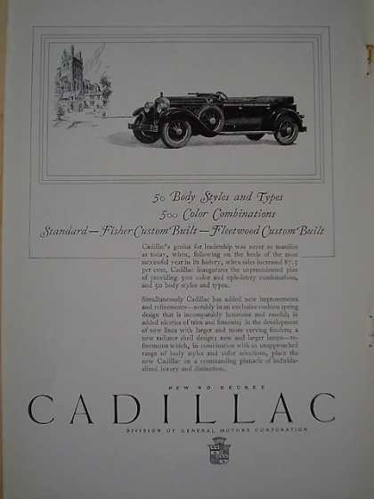 Cadillac 50 body styles 500 color combinations Fleetwood (1926)