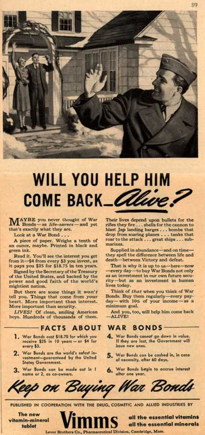 U. S. Government's War Bonds – Will You Help Him Come Back – Alive? (1943)