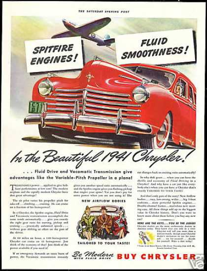 Red Chrysler 4 Door Vintage Print Car (1941)