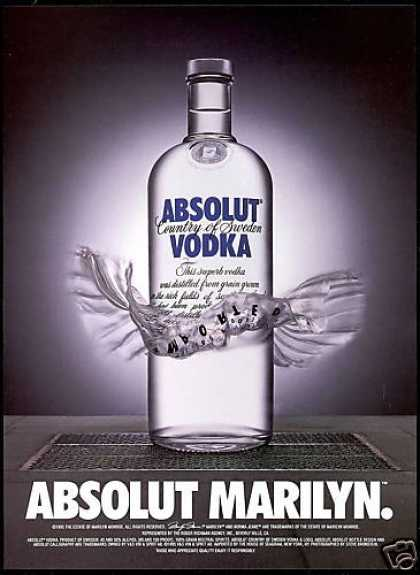 Absolut Vodka Marilyn Bottle Photo (1998)