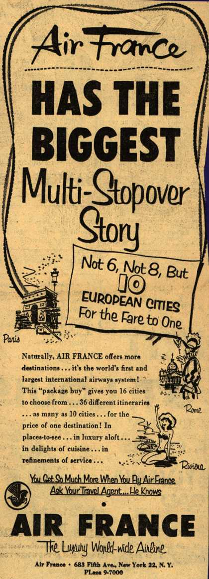 Air France's Multi-Stopover Flight Package – Air France Has The Biggest Multi-Stopover Story (1953)