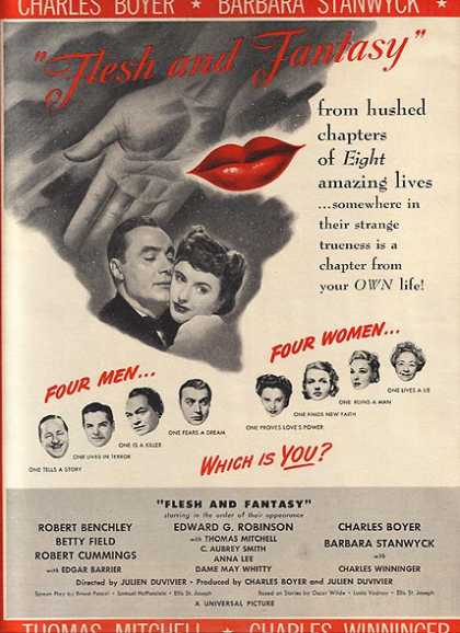 Flesh and Fantasy (Edward G. Robinson, Charles Boyer, Barbara Stanwyck, Robert Benchley and Robert Cummings) (1943)