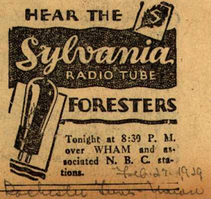 Sylvania Radio Tube's Radio Tubes – Hear The Sylvania Radio Tube Foresters (1929)