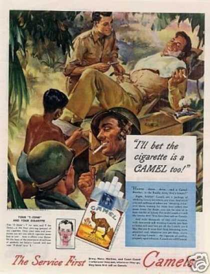 "Camel Cigarettes Ad ""I'll Bet the Cigarette... (1945)"