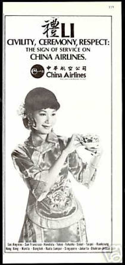 CAL China Airlines Sign Of Service Photo (1979)