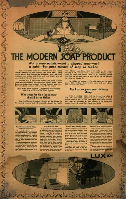 Lever Bros.'s Lux (laundry flakes) – The Modern Soap Product (1916)