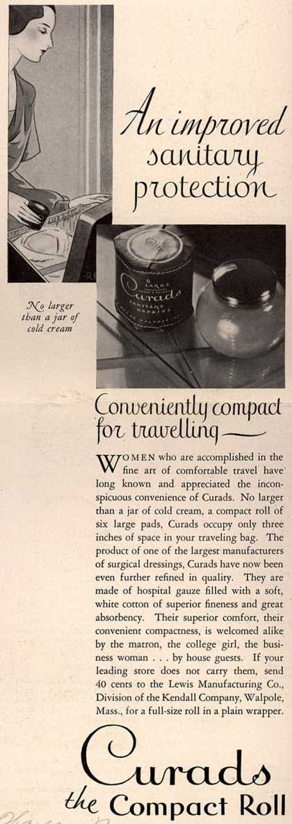 Lewis Manufacturing Company's Curads Sanitary Napkins – An improved sanitary protection (1930)