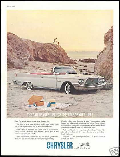 Chrysler New Yorker Convertible Car Beach (1960)