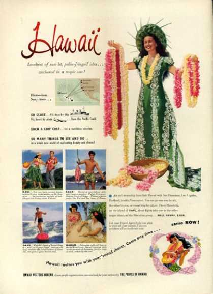 Hawaii Visitor Bureau Lei Surfboard Dance (1952)