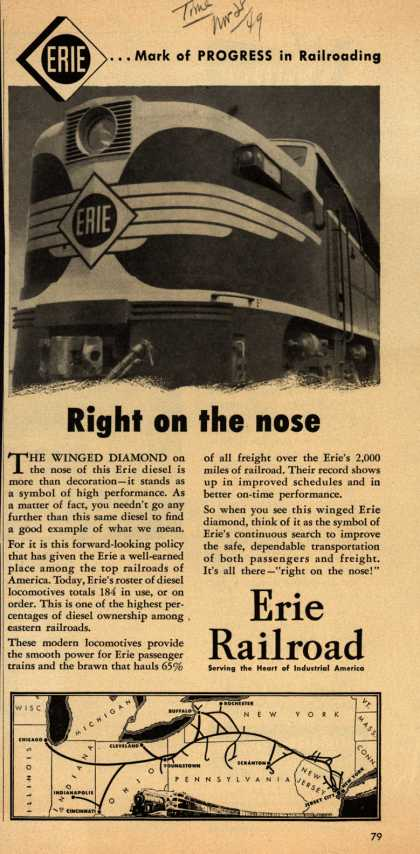 Erie Railroad's Diesel Engine Service – Right on the nose (1949)