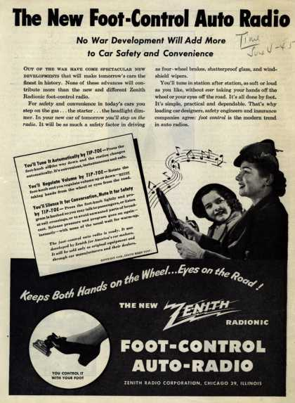 Zenith Radio Corporation's Foot Control Auto-Radio – The New Foot-Control Auto Radio: No War Development will add more to car safety and convenience (1945)